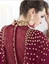 photo of Maroon Designer Anarkali Suit Georgette With Embroidery Work