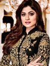photo of Shamita Shetty Black Georgette Festive Wear Embroidered Anarkali Salwar Suit