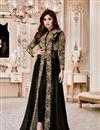 image of Shamita Shetty Black Georgette Festive Wear Embroidered Anarkali Salwar Suit