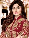photo of Shamita Shetty Georgette Designer Anarkali Dress In Maroon With Embroidery Work