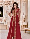 image of Shamita Shetty Georgette Designer Anarkali Dress In Maroon With Embroidery Work