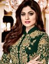 photo of Shamita Shetty Dark Green Georgette Festive Wear Embroidered Anarkali Salwar Suit
