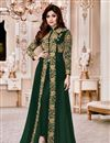 image of Shamita Shetty Dark Green Georgette Festive Wear Embroidered Anarkali Salwar Suit