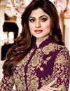 photo of Ready to Ship Shamita Shetty Purple Embroidered Occasion Wear Anarkali In Georgette
