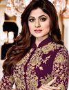 photo of Shamita Shetty Purple Embroidered Occasion Wear Anarkali In Georgette