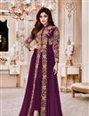 image of Ready to Ship Shamita Shetty Purple Embroidered Occasion Wear Anarkali In Georgette