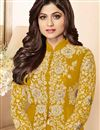 photo of Shamita Shetty Georgette Fancy Anarkali Suit With Front Slit In Mustard