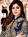 photo of Shamita Shetty Navy Blue Georgette Function Wear Anarkali Suit With Embroidery Work