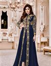 image of Shamita Shetty Navy Blue Georgette Function Wear Anarkali Suit With Embroidery Work
