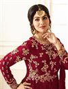 photo of Wedding Special Ayesha Takia Maroon Georgette Embroidered Floor Length Anarkali Dress