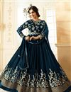image of Ayesha Takia Embellished Dark Grey Long Anarkali Dress In Georgette