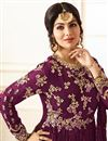 photo of Wedding Special Ayesha Takia Long Floor Length Embellished Anarkali Dress In Burgundy Color