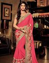 image of Designer Party Wear Pink Color Saree With Embroidery Work