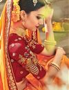 photo of Party Wear Georgette And Satin Fabric Orange Color Designer Embroidered Saree