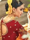 picture of Party Wear Georgette And Satin Fabric Orange Color Designer Embroidered Saree