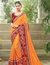 image of Party Wear Georgette And Satin Fabric Orange Color Designer Embroidered Saree