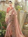 image of Festive Wear Georgette And Satin Fabric Peach Color Designer Saree With Embroidery Work
