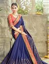 photo of Designer Artistically Embroidered Georgette And Satin Saree In Blue Color