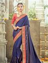 image of Designer Artistically Embroidered Georgette And Satin Saree In Blue Color