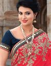 photo of Gorgeous Cream-Red Embroidered Georgette-Net Saree