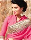 photo of Gorgeous Pink-Beige Embroidered Chiffon-Net Saree