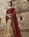 image of Cream Festive Wear Designer Chiffon-Brasso Saree