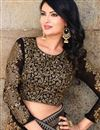photo of Black-Beige Embroidered Georgette Party Wear Saree