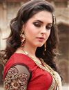 photo of Red-Beige Embroidered Georgette-Brasso Party Saree