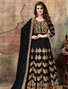image of Embroidered Georgette Long Anarkali Suit In Black