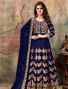 image of Navy Blue Georgette Fancy Embellished Floor Length Anarkali
