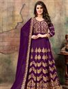image of Embroidered Georgette Long Anarkali Suit In Purple