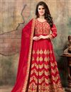 image of Georgette Red Embroidered Fancy Anarkali Dress