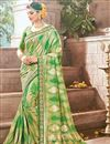 image of Traditional Art Silk Green Saree For Wedding Functions