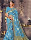 image of Sky Blue Traditional Function Wear Fancy Saree In Art Silk