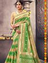 image of Function Wear Green Traditional Saree In Art Silk