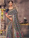 image of Designer Grey Fancy Saree For Functions In Art Silk