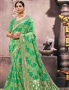 image of Wedding Special Designer Green Fancy Saree For Functions In Art Silk