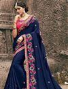image of Art Silk Navy Blue Embellished Fancy Saree With Heavy Blouse