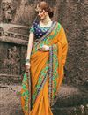image of Orange Art Silk Function Wear Designer Saree With Embroidered Blouse
