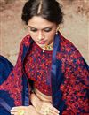 photo of Embroidered Function Wear Chinon Blue Saree With Fancy Blouse