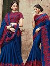 image of Embroidered Function Wear Chinon Blue Saree With Fancy Blouse