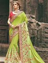 image of Green Chinon Embellished Fancy Saree With Heavy Blouse