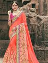image of Salmon Color Chinon Fabric Function Wear Designer Saree With Embroidered Blouse