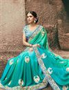 photo of Wedding Function Wear Sky Blue Georgette Saree With Heavy Blouse