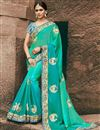 image of Wedding Function Wear Sky Blue Georgette Saree With Heavy Blouse