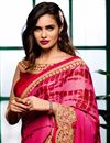 photo of Festive Wear Golden-Pink Color Embroidered Designer Crepe-Satin Saree