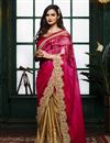 image of Festive Wear Golden-Pink Color Embroidered Designer Crepe-Satin Saree