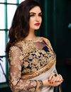 photo of Designer Georgette Fabric Embroidered Saree in Grey Color