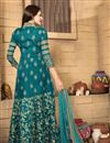 photo of Festive Wear Teal Color Embroidered Anarkali Salwar Suit In Banglori Silk Fabric