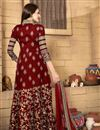 photo of Designer Embroidered Maroon Color Stylish Anarkali Suit In Banglori Silk Fabric